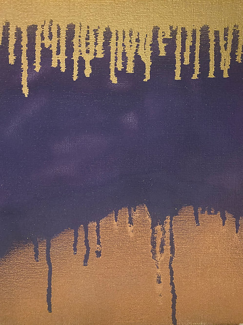 Princely Purple with Gold drips and spray paint art