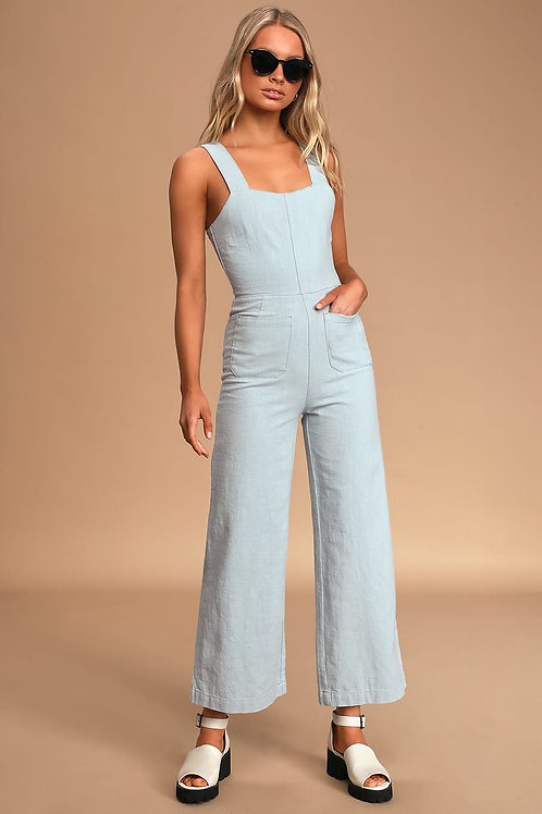 Sailor Ramie Jumpsuit in Sky Blue