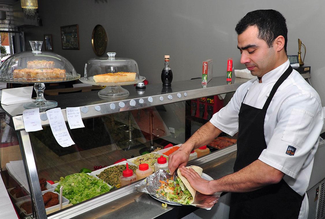 Turkish Kitchen takeaway restaurant making kebabs in Mosgiel Dunedin