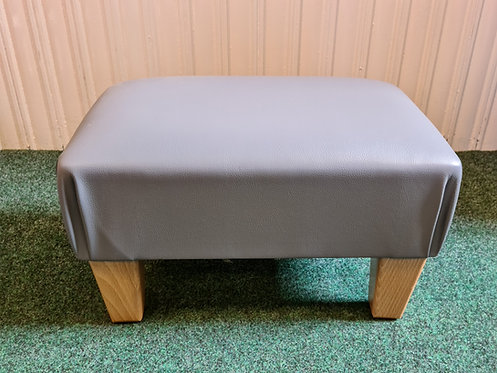 Grey Faux Leather Footstool