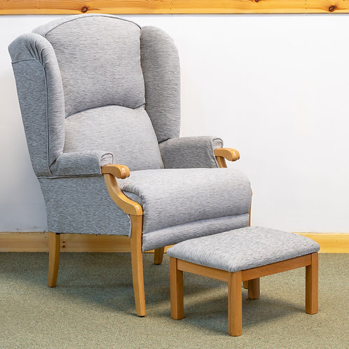 Cotswold High Back Chair in Grey Fabric & Matching Footstool