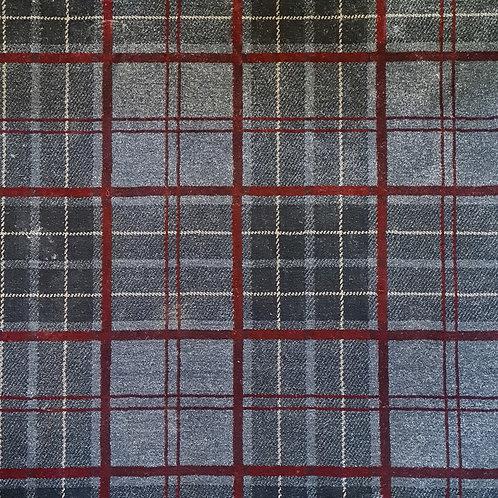 Tartan Rug Grey & Red              1.5 m x 1m