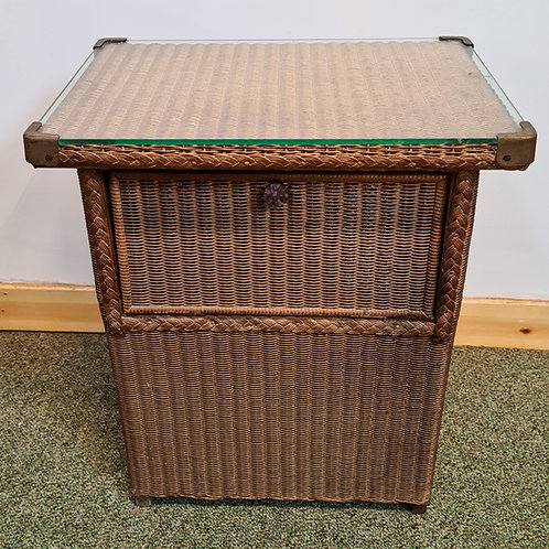 Vintage Lloyd Loom Laundry Basket with Glass Top