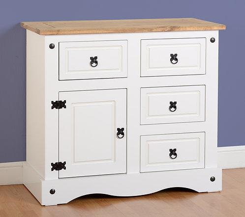 Corona White 1 Door 4 Drawer Sideboard