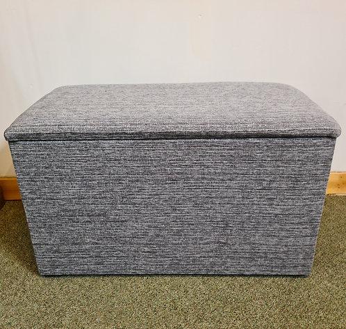 Grey Chenille Fabric Ottoman