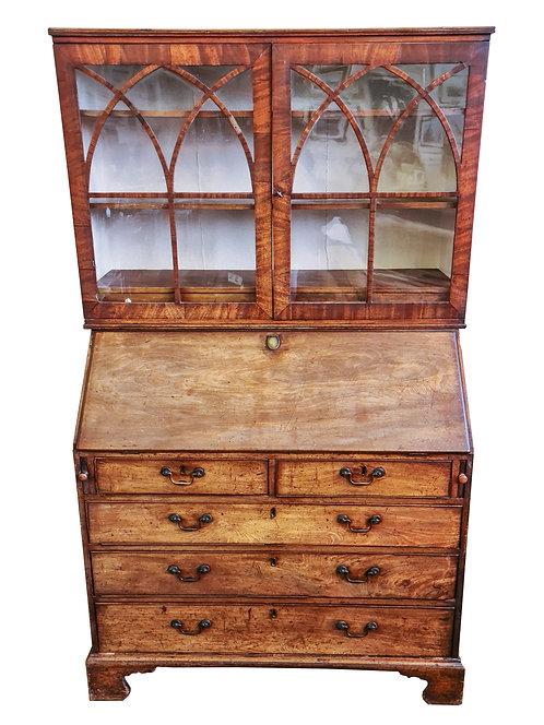 Vintage Oak Bureau with Display Cabinet Top