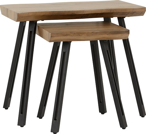 Oak Top Straight Edge Nest of Tables
