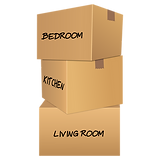 removal boxes with names of rooms