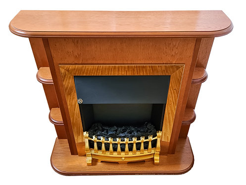 Electric Fire with Teak wood surround