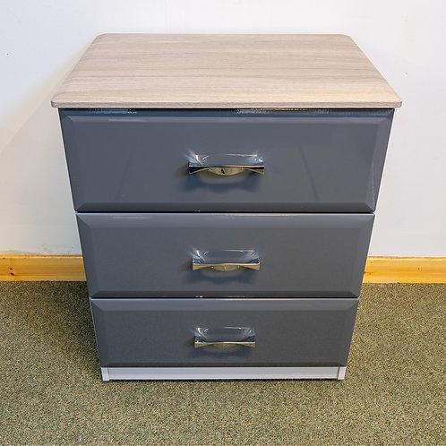 3 drawer chest 60cm wide - Wessex Range Dark Grey Gloss/Oyster