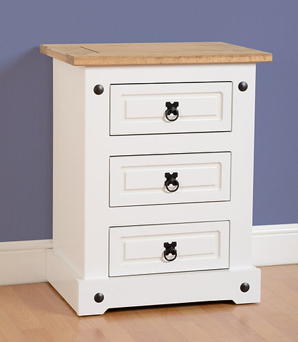 Corona White 3 Drawer Bedside Chest