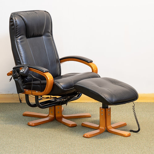 Black Faux Leather Electric Recline & Massage Chair + Foot Stool