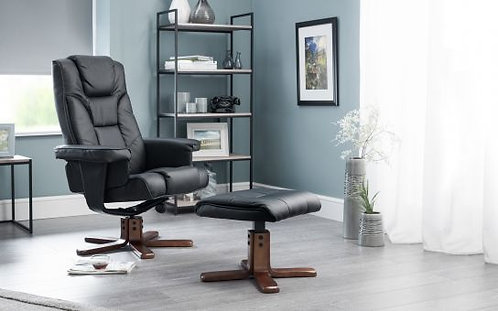 Black Recliner + Stool