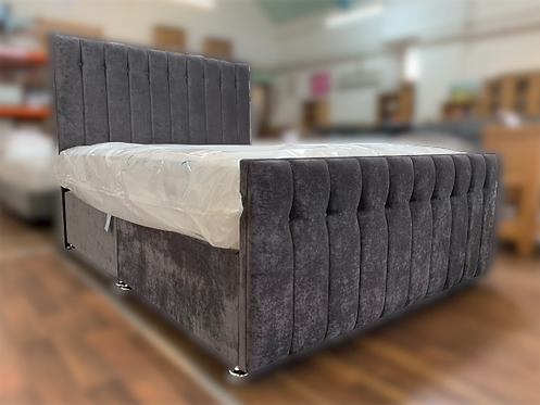 King (5')  Grey Velvet Bed with High Foot End