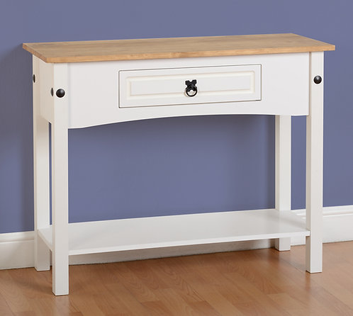 Corona White 1 Drawer Console Table