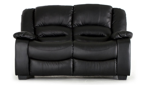 Barletto Black Leather 2 Seater Sofa