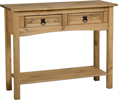 Corona Console 2 Drawer Table With Shelf