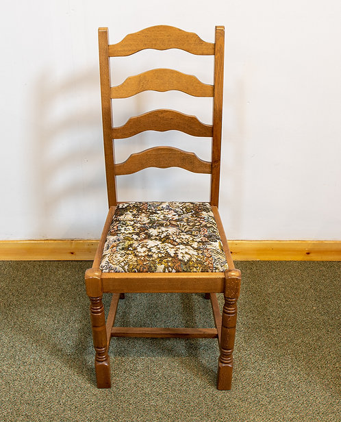 Oak Ladder Back Chair with tapestry seat pad