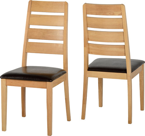 Oak Varnish Dining Chair with Brown Faux Leather Seat Pad