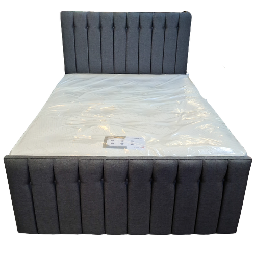 King (5')  Grey Fabric Bed with High Foot End