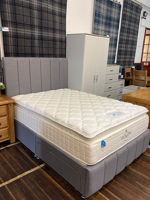 Double (4'6) Silver Grey Fabric 2 Drawer Bed with Low Footboard