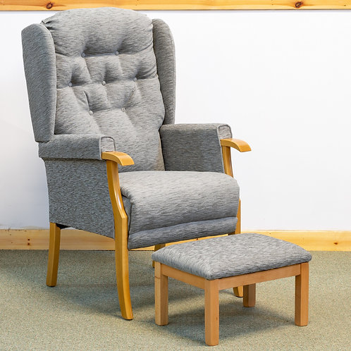Cotswold Chair in Grey Fabric & Footstool