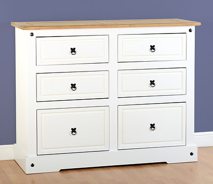 Corona White 6 Drawer Chest