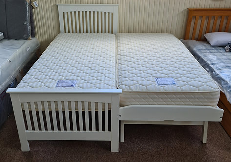 White  Painted Wooden Guest Bed & 2  Single (3') Mattresses