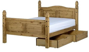 wooden bed frame with two drawers