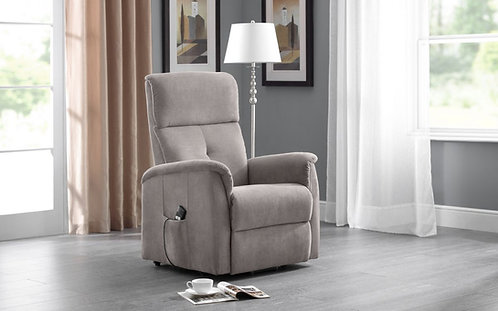 Electric recliner chair light grey fabric