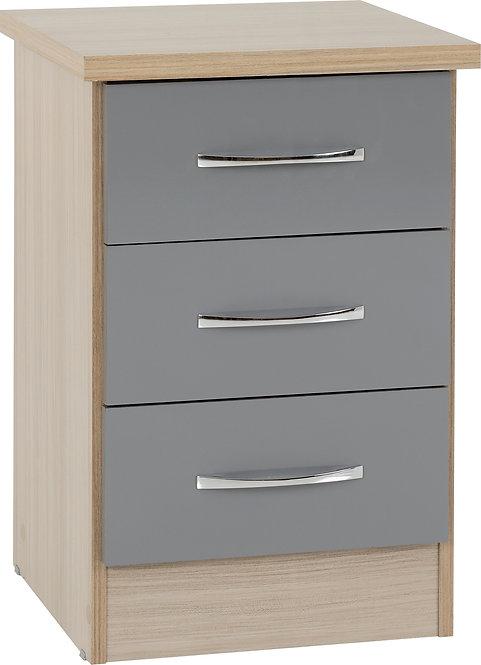 NEV Grey Gloss Front with Light Oak Effect 3 Drawer Bedside