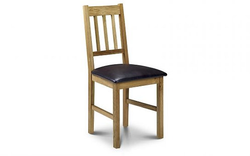 Oak Dining Chair with faux leather seat pad