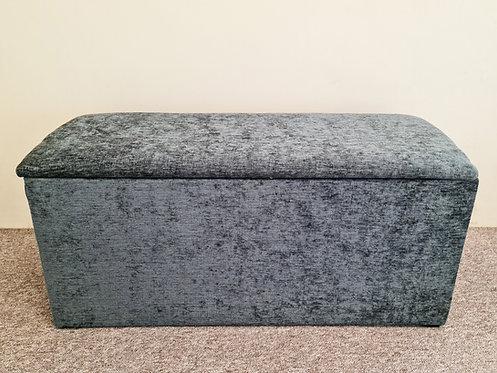 Grey Chenille Fabric Ottoman/Storage Box