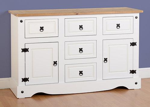 Corona White 2 Door 5 Drawer Sideboard