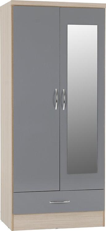 2 Door 1 Drawer Mirrored Wardrobe