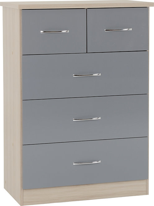 NEV Grey Gloss Front with Light Oak Effect 3+2 drawer chest