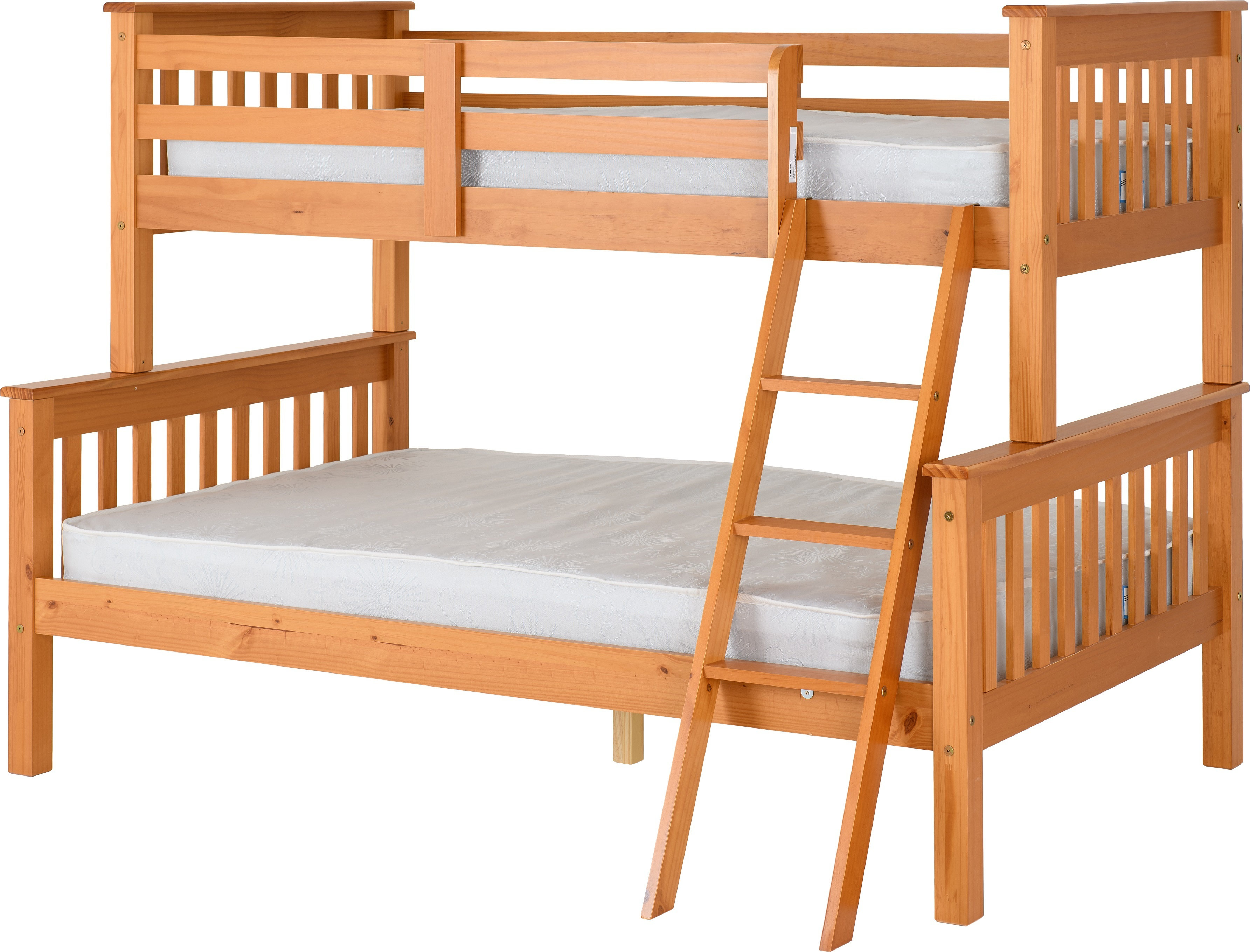 Pine Triple Sleeper Bunk Bed Frame Single Top Double Bottom Bremners