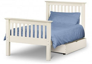 white wooden bed frame with mattrss and drawer underneath