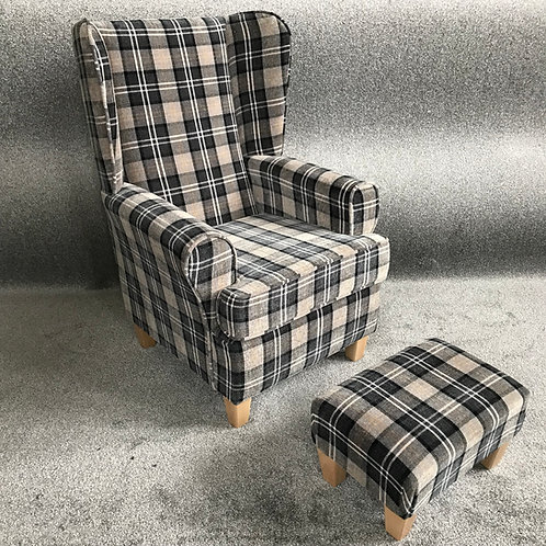 Grey Tartan Chair & footstool