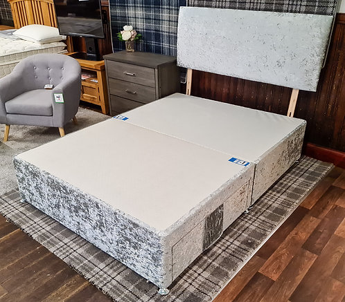 Double (4'6)Silver crushed velvet 2 Drawer Bed Base + Headboard