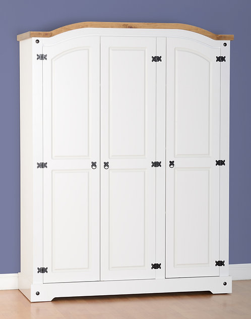 Corona White 3 Door Wardrobe
