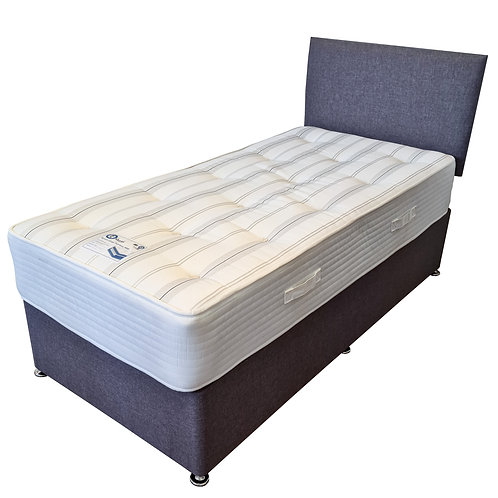Single (3') Grey Divan Base, Headboard & PBK Mattress