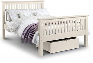 white wooden bed frame with mattress on top and drawer underneath
