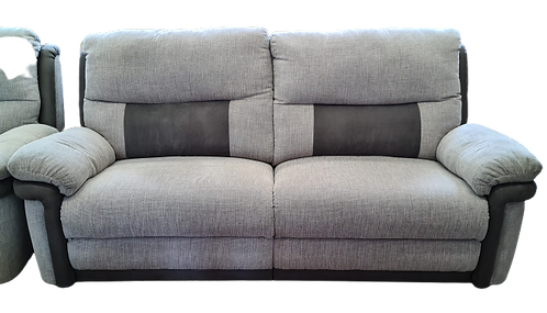 Grey fabric 3 Seater Recliner Sofa