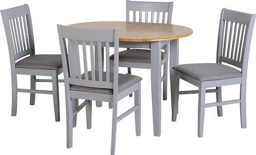 Grey Extending Table Dining Set with oak top table & 4 Chairs