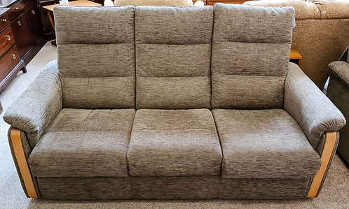 Brown Fabric 3 seater sofa with wooden trim