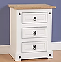 white bedside cabinet with pine top