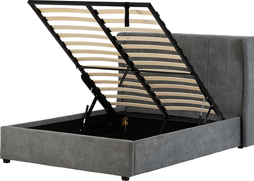 Double (4'6)  Grey Fabric Storage Bed
