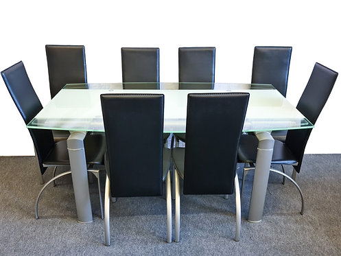Extending Glass Table + 8 Chairs