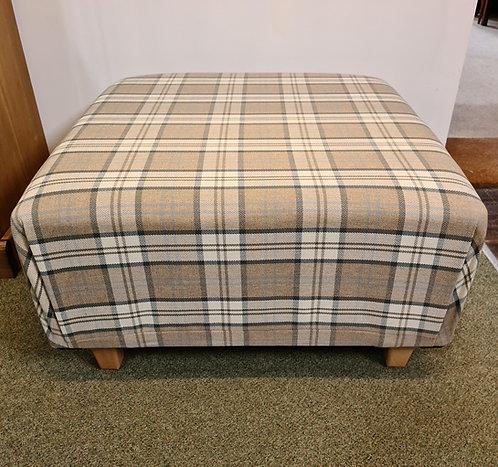Tartan Fabric Large Square Stool